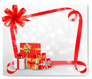 Holiday background with red gift bow Royalty Free Stock Image