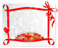 Holiday background with red gift bow with gift box Royalty Free Stock Photography