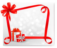 Holiday background with red gift bow with gift box Stock Images