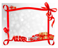 Holiday background with red gift bow with gift box Royalty Free Stock Photo