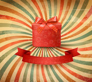 Holiday background with red gift ribbon. With gift box Vector Stock Images