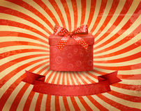 Holiday background with red gift ribbon with gift. Box Vector Royalty Free Stock Photos