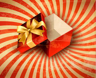 Holiday background with red gift ribbon. With open gift box Vector Royalty Free Stock Photo