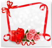 Holiday background with red heart-shaped gift box Royalty Free Stock Image