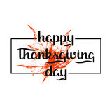 Holiday background with red maple leafe and hand drawn words happy thanksgiving day in a frame. Vector holiday background with red maple leafe and hand drawn Royalty Free Stock Images