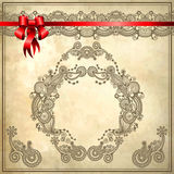 Holiday background with red ribbon and floral Royalty Free Stock Photo
