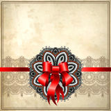 Holiday background with red ribbon Stock Photo