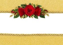 Holiday background with red rose flowers decoration and golden r stock illustration