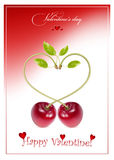 Holiday background. Ripe c. Vector holiday background. Valentine's day. Ripe cherries Stock Photography