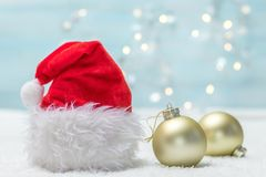 Holiday background. With Santa Claus hat Royalty Free Stock Photos
