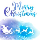 Holiday background with Santa Claus. Vector holiday background with Santa Claus and greeting inscription. Christmas card with blue watercolor texture Stock Photos