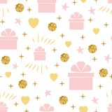 Holiday background seamless birthday pattern with gift box gentle pink golden colors. Holiday background seamless happy birthday pattern with gift box gentle stock illustration