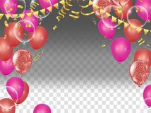 Holiday  background with serpentine design vector illustration b. Alloons Balloons and confetti Stock Image
