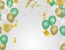 Holiday  background with serpentine design vector illustration b. Alloons Balloons and confetti Stock Photos