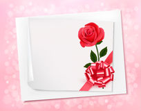 Holiday background with sheet of paper and pink bow. Stock Images