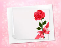 Holiday background with sheet of paper and red flo Royalty Free Stock Images