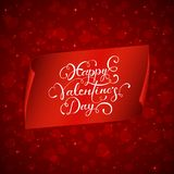 Happy Valentines Day on red banner with hearts. Holiday background with shiny hearts and red banner with lettering Happy Valentines Day, illustration Stock Photography