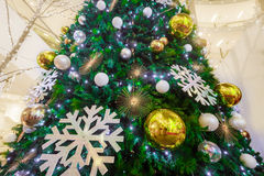 Holiday background. Shopping mall interior decorated with christmas trees Royalty Free Stock Images