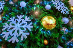 Holiday background. Shopping mall interior decorated with christmas trees Stock Photography