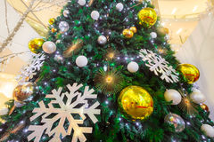 Holiday background. Shopping mall interior decorated with christmas trees Royalty Free Stock Photography