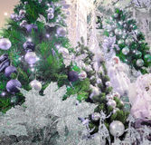 Holiday background. Shopping mall interior decorated with christmas trees Royalty Free Stock Image