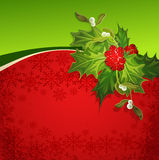 Holiday background with snowflakes and holly vector illustration
