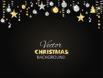 Sparkling Christmas glitter ornaments. Golden fiesta border, festive garland with hanging balls and ribbons on black. Holiday background with sparkling Royalty Free Stock Image