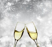 Holiday background with sparkling lights and champagne Stock Image