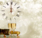 Holiday background with sparkling lights and champagne Royalty Free Stock Photo