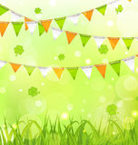 Holiday Background for St. Patrick's Day. Illustration Holiday Background with Bunting Pennants in Irish Colors and Clovers for St. Patrick's Day - Vector Royalty Free Stock Image
