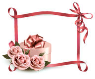 Holiday background with three roses and gift box Royalty Free Stock Images