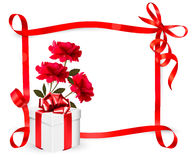Holiday background with three roses and gift box a Stock Image