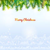 Holiday background with top pine branches and bottom twigs silho Stock Image