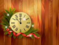 Holiday background with tree branches and clock. Royalty Free Stock Photos