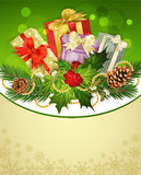 Holiday background, tree, pine cones, holly Royalty Free Stock Image