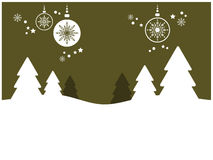 Holiday Background with Trees and Ornaments (I) Stock Photography
