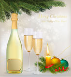 Holiday background with two glasses of champagne Stock Images