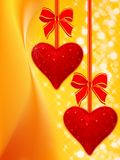 Holiday background with two hearts Stock Photo