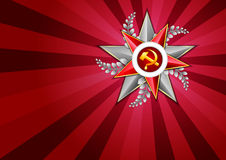 Holiday background on Victory Day or Defender of the Fatherland day. May 9. February 23. Holiday background in scarlet with Georgievsky star on Victory Day or Stock Images