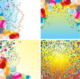 Holiday backgrounds. Colorful backgrounds set with balloons and confetti vector illustration