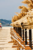 Holiday backgrounds. Travel backgrounds, wooden chairs and thatched umbrellas on a sunny beach Stock Image