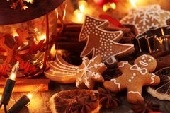 Holiday baking. Gingerbread cookies, spices and Christmas lights stock image