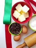 Holiday baking time - above view of cookie ingredients with heirloom rolling pin royalty free stock photography