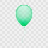 Holiday balloon vector illustration. Colorful shiny green balloon on transparent background Royalty Free Stock Photos