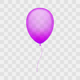 Holiday balloon vector illustration. Colorful shiny purple balloon on transparent background Royalty Free Stock Photos