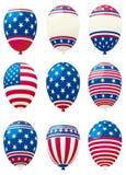 Holiday balloons. Vector set of holiday balloons color like american flag Stock Image