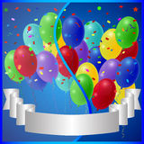 Holiday balloons on a blue background with glass banner gray ribbon. Vector Stock Image