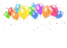 Holiday balloons and confetti Stock Image