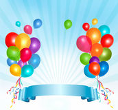 Holiday balloons frame composition Royalty Free Stock Images