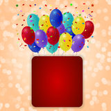 Holiday balloons with red banner on orange background. Royalty Free Stock Photos